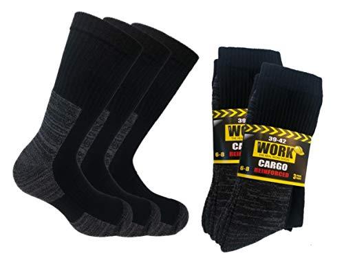 Lucchetti Socks Milano 6 paia calze da lavoro CARGO per scarpe antinfortunistiche, NUOVO Modello SUPER RINFORZATE (NERO, 39-42)
