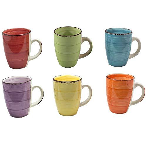 esto24 Design 6er Set Kaffeebecher Keramik 350ml in Tollen Farben für Ihr liebstes Heißgetränk...
