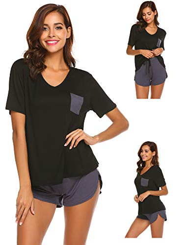 Nachtwäsche Pyjama Damen Shorty Schlafanzug Set hosen shorts shirt Sommer Kurz Hausanzug Schwarz - Womens Lounge L/s Shirt