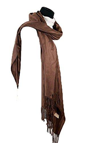 Sciarpa da donna, 100% in puro cachemire, utile anche come scialle Marrone (Marrone)
