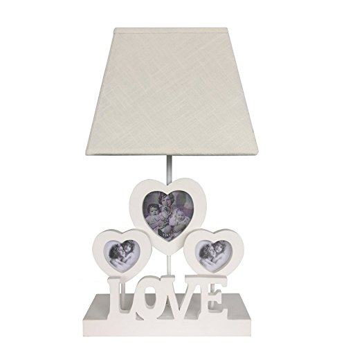 Rebecca Mobili Lampe de Chevet Lumière Lampe de Table Abat-Jour Shabby 3 Cadre-Photos Blanc Bois Tissu Chambre Salon Max 60 W E27 GLS (Cod. RE6204)