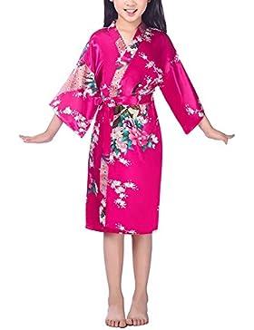 DELEY Bambini Ragazze Kimono Raso Seta Pavone Accappatoi Accappatoio Vestaglia da Sposa Pigiameria Pigiami Robe...