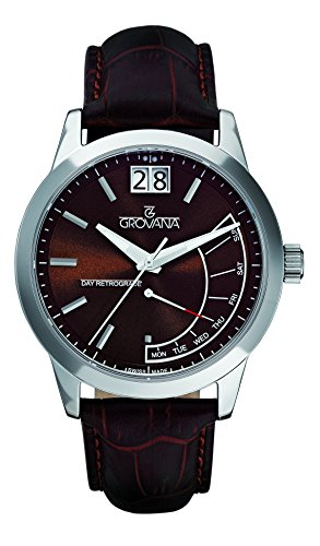 GROVANA 1722.1535 Men's Quartz Swiss Watch with Brown Dial Analogue Display and Brown Leather Strap