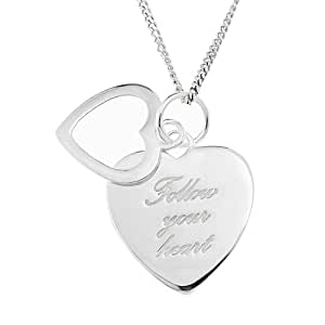 Ornami Sterling Silver Message Heart Pendant with Chain of 46cm