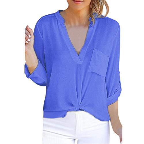 Yvelands T Shirt Damen Sommer Bluse Damen Top ärmellos Reine Farbe Lose Freizeithemd Blusen Große...