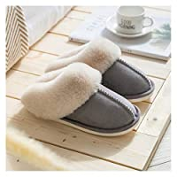 YUTJK Faux Fur House Slippers Breathable Indoor Outdoor Comfort Loafer Shoes for Women and Men,Women