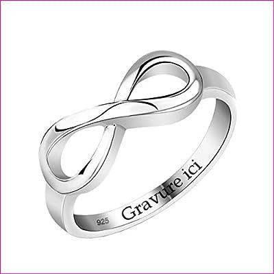 Bague signe infini personnalisée avec message - Bague Argent pour Femme - L'amour éternel