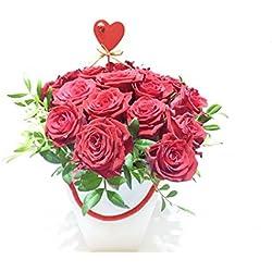 """Rote Rosen Set""""Blumenstrauß Liebe"""" - 10 rote Rosen in Herztasche"""