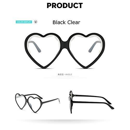Taiyangcheng Las Mujeres en Forma de corazón gafas de sol de lujo claro ojo de gato gafas de sol de las señoras del Color del Caramelo lente transparente gafas,Negro claro