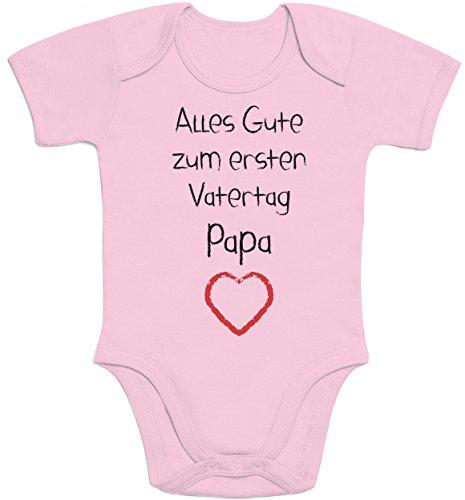 Alles Gute zum ersten Vatertag Papa Herz - Vater Baby Geschenk Baby Strampler Body Kurzarm 3 - 6 months Rosa