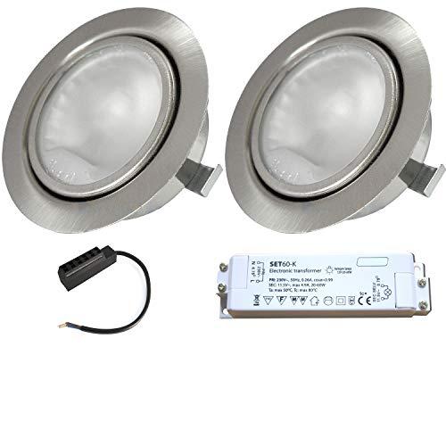 2 Stück Möbeleinbauspot Alina 12 Volt 20 Watt inkl. Kabel mit AMP Stecker und Trafo - Farbe Edelstahl geb. -