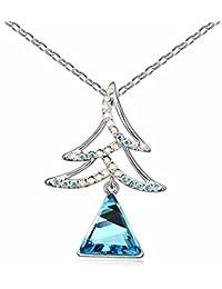 Déstockage-MARENJA Cristal-Collier Femme-Arbre de Noël-Plaque Or Blanc-Cristal Autrichien Bleu-40+5cm