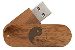 Customized Engraved Brown Walnut Wooden 16GB USB Flash Drive Yin Yang