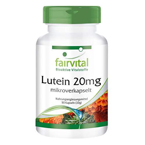 Lutein 20mg - GROSSPACKUNG - VEGAN - HOCHDOSIERT - 90 Kapseln - mikroverkapselt