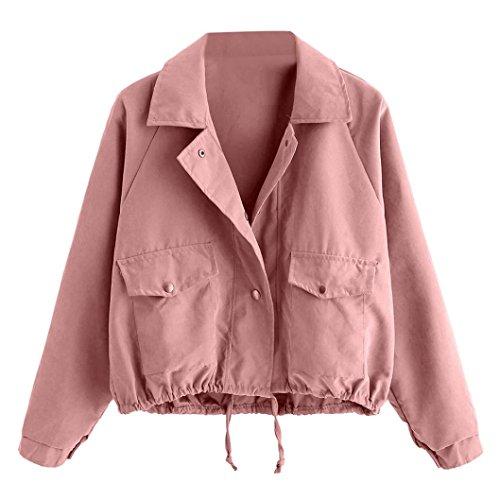 DRESS_start Damen Herbst Mode Kurze rosa knopf Mantel Pocket Oversize Zipper Jacke Windbreaker Mantel Coole Jacke Strickjacke s-XL (S, Rosa) -