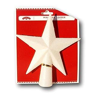 Holiday-Time-Christbaumspitze-mit-5-Sternen-und-Glitzern-klein-14-cm-Wei