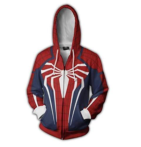 Zhuwy Herren Hoodie Kapuzenpullover Tunnelzug Pullover Langarm Sweatshirt 3D Druck Unisex Kapuzenjacke Mit Taschen Spider-Man XXL -