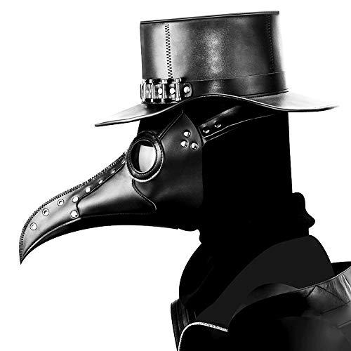 eihnachten, Neujahr, Pest Doktor, Vogel Kopfmaske mit Langer Nase, Steampunk-Maske für Halloween-Kostüm - Schwarz - Einheitsgröße ()