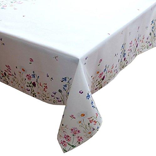 Raebel OHG Apolda Tischdecke 130x170 cm Eckig Pflegeleicht Weiß Blumenwiese Bunt Frühlingsdecke