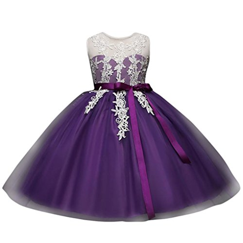 Malloom® Kinder Kid Infant Mädchen Stickerei Blumendruck Backless Prinzessin Tutu Kleid (lila, 100) (Lila Bekleidung Infant)