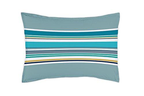 Matt & Rose 044358 Esprit Graphique Taie d'oreiller Coton Bleu/Orage 70 x 50 cm