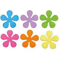 Papillon Non-slip bath flowers-Incl suction pads-set/6 assorted colours-Ø10,5, PVC, Yellow, Lilac, Pink, Orange, Green, Blue, 10,5 x 10,5 cm