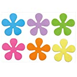 Papillon 10.5 cm Non-Slip Bath Flowers Suction Pads Set, Set of 6, Yellow/Lilac/Pink/Orange/Green/Blue