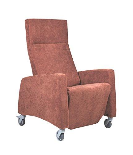 DEVITA Pflegesessel LUTRA Relax mit Rollen und verstellbarer Rückenlehne, Fernsehsessel, Seniorensessel, Relaxsessel bis 120 kg - mit Netzstecker oder Akku - chocolat mikrofaser