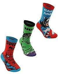 6 pares / 3pares de calcetines con diseños de superhéroes de Marvel, Spiderman, Hulk, Capitán América, Iron Man