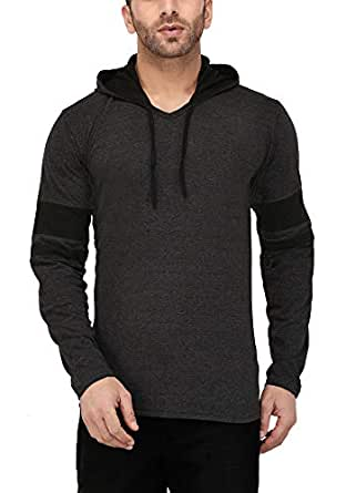 Katso Men's Cotton Hooded T-Shirt (Darkgrey_Small)