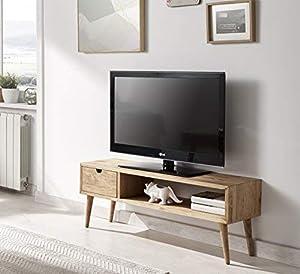 mueble televisor: Hogar24.es-Mesa televisión, mueble tv salón diseño vintage, cajón y estante, mad...