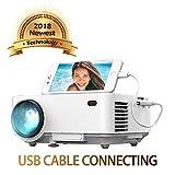 Spiegel-Display Beamer von DBPOWER, USB Direkt verbinden mit IOS / Android-Ger�t, +50% Helligkeit, Heimkino-Projektor, 1080P/HDMI/VGA/USB/TV Box/Laptop/DVD/ Externe Lautsprecher unterst�tzt Bild