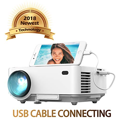 Spiegel-Display Beamer von DBPOWER, USB Direkt verbinden mit IOS / Android-Gerät, +50% Helligkeit, Heimkino-Projektor, 1080P/HDMI/VGA/USB/TV Box/Laptop/DVD/ Externe Lautsprecher unterstützt