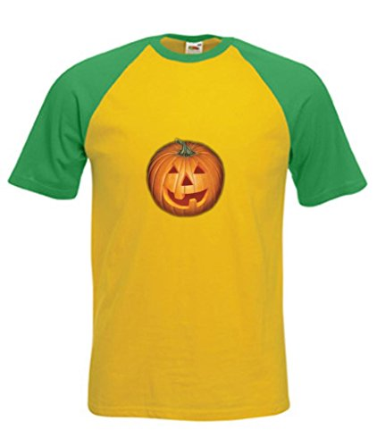 en Kürbis Jack O Laterne Erwachsene Short Sleeve Baseball T-Shirt Gr. XX-Large, Canary/Green (Scary Halloween-jack O Laternen)