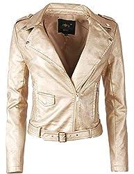 Fraternel Damen Jacke Bikerjacke Kunstlederjacke mit Gürtel Gold L / 40