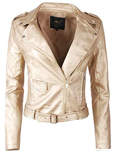 Fraternel Chaqueta Biker Mujer Cuero sintético Dorado M / 38
