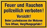 INDIGOS UG - gelb / schwarz - Hinweisschild für Tankanlagen und Garagen Feuer und Rauchen polizeilich verboten Vorsicht! Kunststoff (Polysterol) PVC - Größe 25x15 cm für Firma Schule Office Hotel Sicherheit BMZ