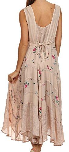 Sakkas Robe Garden Goddess Style Corsage Beige