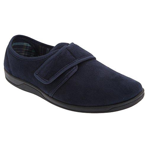 Sleepers Herren Tom Hausschuhe / Pantoffeln mit Klettverschluss, Wildleder-Imitat Marineblau