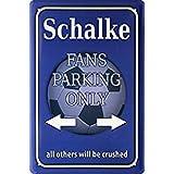 Schalke Fans Parking only blechschild, parkschild, tin sign, metallschild, deko, fußball