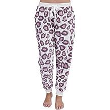Pie de pijama, diseño de estampado de leopardo en lana polar suave grueso para mujer