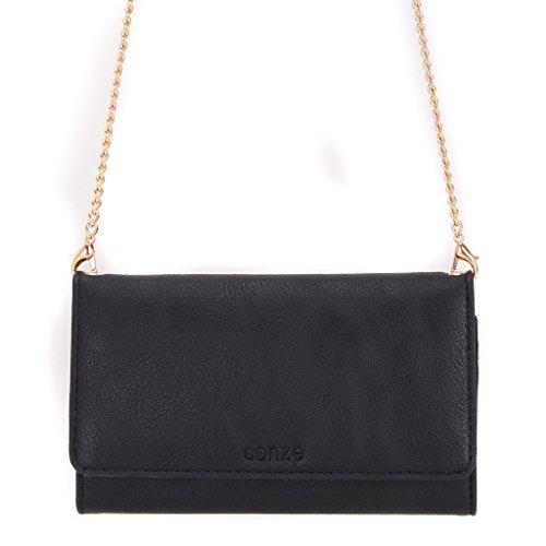 conze Fashion Téléphone portable petit sac de transport avec sangle croix corps compatible avec Nokia Lumia 630/1020/638/720 Black + Flower noir