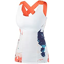 HEAD Vision Graphic Tank Top Camiseta de Tirantes, Mujer, White/Coral, S