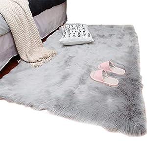 TIDWIACE Faux Lammfell Schaffell Teppich Nachahmung Wolle Wohnzimmer Teppiche Lange Fell Flauschig Weiche Schaffell Bettvorleger Matte (Grau, 80X150 cm)