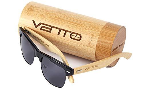 Preisvergleich Produktbild Vento Eyewear® Modell Sirocco BlackTwice - Sonnenbrille aus Bambus / Holz,  Entworfen in Italien