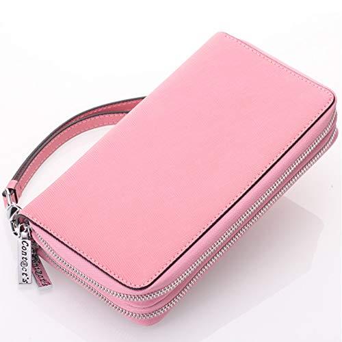 Cross-grain-leder (Mode Cortex Damenbrieftasche Cross-Grain Leder Doppelreißverschluss Hand Geldbörse Multifunktionsschlüssel Tasche Leather (Color : Pink, Size : S))