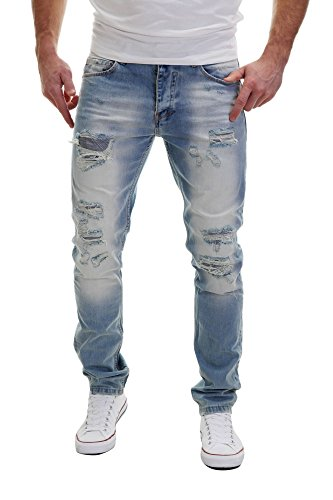 Merish Jeans Herren Destroyed Used Look Patched Light Blue Hellblau Streetstyle Neu 2073