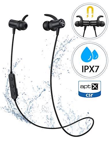 Cuffie Bluetooth Sport aptX, Mpow S11 Auricolari Bluetooth 5.0 Bassi Potenziati, Auricolari Wireless con IPX7, Auricolari Magnetici con Suono Stereo HD per 9 Ore di Uso, CVC6.0 Riduzione del Rumore