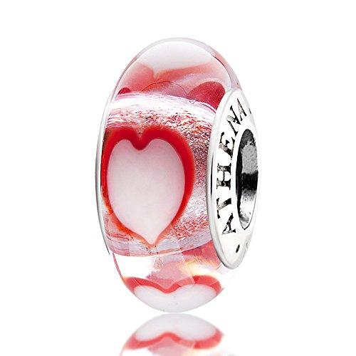 ATHENAIE vetro di Murano originale, a forma di cuore in argento 925 con charm a forma di ballerina, adatta a tutti i braccialetti europei