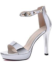 9f6b0b33cfd3e Scarpe donna HWF Sandali Estate Femminile Sexy Tacchi A Spillo Semplice  (Colore   Silver